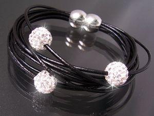 Armband Shamballa Leder schwarz Edelstahl Verschluß Magnet Silber Strass Shamballaarmband A393*