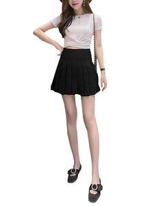 Damen High-Taille A-Linie Reißverschluss Taille Faltenrock lässig All-Match-Rock,Farbe: Schwarz,Größe:M