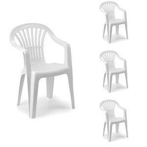 4er Stapelstuhl Bistrostuhl Gartenstuhl MOJAWO ALTEA Weiß Kunststoff