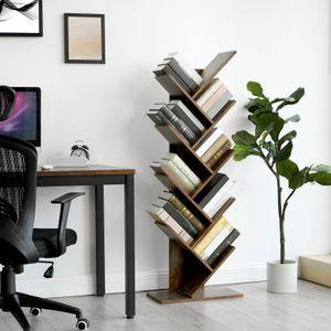 VASAGLE Bücherregal mit 8 Ebenen aus Holz 141,5cm in Baumform  Standregal für Wohnzimmer Home Office und Büro Vintage dunkelbraun LBC11BX