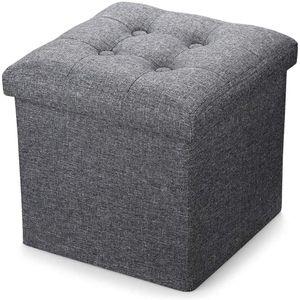Theo&Cleo 38cm Sitzbank Sitzhocker mit Stauraum faltbar Sitzwürfel Fußablage leinen Schwarz Grau