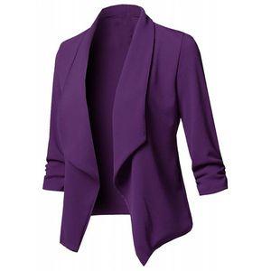 Damen Solid Open Front Cardigan Langarm Blazer Casual Jackenmantel Größe:S,Farbe:Lila