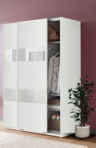 Schwebetürenschrank Kleiderschrank Altona weiß Weißglas 135cm