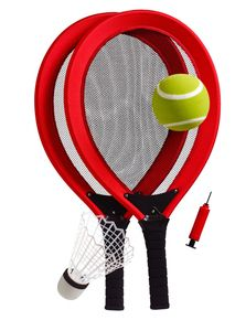 Best Sporting Jumbo Tennis Federball Set rot extra groß für Garten Strand
