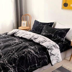 Bettwäsche Marmor Schwarz Weiß Wendebettwäsche Set aus Microfaser Einzelbett Bettbezug 200x220cm und 2 Kissenbezug 80x80cm