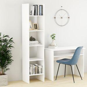 TOP! Bücherregal Standregal,Küchenregal Weiß 40x35x180 cm Spanplatte Regal Klassischen Design für Wohnzimmer Schlafzimmer Büro