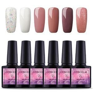 Gel Nagellack, 6 Farben UV Nagellack für Gelnägel Nagelkunst Gel Nail Art Gel Polish Kit - 8ml