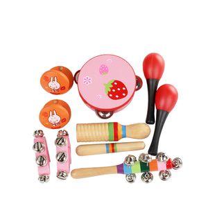 10 teile / satz Musical Spielzeug Schlaginstrumente Band Rhythmus Kit Einschließlich Tamburin Maracas Kastagnetten Handbells Holz Guiro für Kinder Kinder Kleinkinder