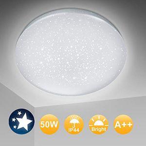 karpal LED Deckenleuchte Sternenlicht 50W 4500LM Kaltweiss/Flimmerfrei Deckenlampe fuer Schlafzimmer Buero Esszimmer/Wohnzimmerlampe Šµ45cm, 6000K, IP44
