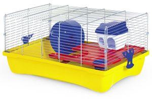 hamsterkäfig 10 Flat 58 x 32 x 26 cm gelb/silber