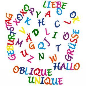Oblique Unique ABC Alphabet Buchstaben Sticker Aufkleber Set zum Basteln Spielen Bekleben von Einladungen - bunt