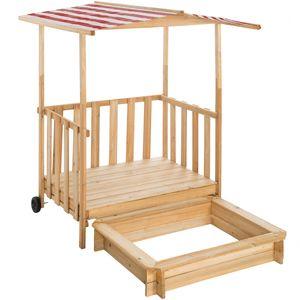tectake Sandkasten und Spielveranda mit Dach Gretchen - rot