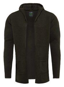 Key Largo Herren Strickjacke Transformer jacket Cardigan mit Kapuze grob gestrickt MST00074, Grösse:M, Farbe:Oliv