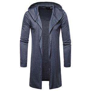 Mode Herren Kapuze Solid Trenchcoat Jacke Strickjacke Langarm Outwear Bluse Größe:5XL,Farbe:Dunkelgrau