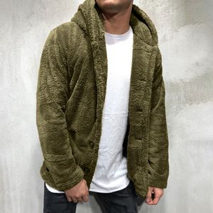 Herren Herbst Winter Solid Color Cardigan Casual Bluse Fleece Tops Mantel Größe:M,Farbe:Türkis