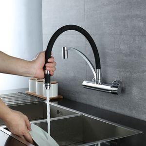 Küchenarmatur Wandarmatur 180° drehbar Wasserhahn Küche Messing Spültischarmatur mit brause Armatur für Küche Küchespültischbatterie Einfache Montage
