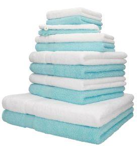 Betz 12er Handtuch-Set PALERMO 100% Baumwolle, Farbe  türkis und weiß