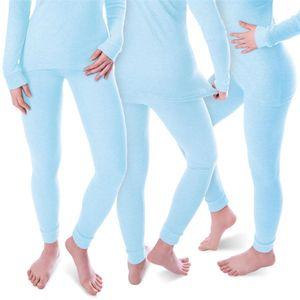 Damen Thermo Unterhosen Set | 3 lange Unterhosen | Funktionsunterhosen | Thermounterhosen 3er Pack - Hellblau - XL