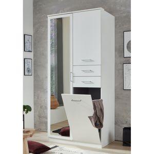 Kleiderschrank Drehtürenschrank Wäscheschrank Wäschetruhe T38690 FRANKFURT Weiß 2trg.
