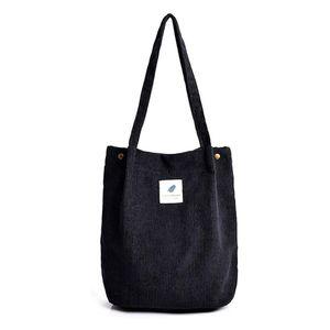 Damen Cord Shopper Tasche in Schwarz, Große Umhängetasche, Schultertasche, Handtasche, Tragetasche - Schwarz