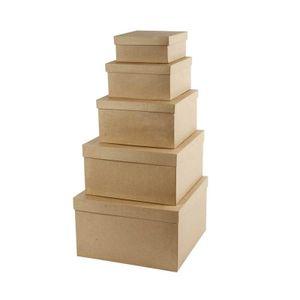 Creotime hutschachteln Vierkantaus Papiermaché braun 5-teilig
