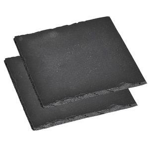 Kesper Servierplatte aus Schiefer, Maße: 20 x 20 cm - 2er Set, 38109