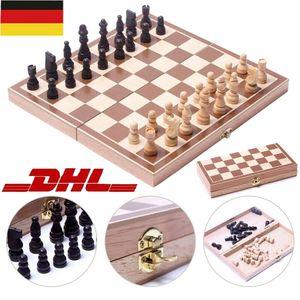 Miixia Schachspiel magnetisch Schach Schachbrett Holz 29 cm Chess Board Set Reiseschach