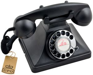 GPO Retro 200, Analoges Telefon, Kabelgebundenes Mobilteil, Schwarz