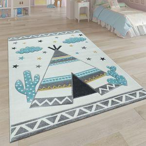 Kinder-Teppich, Kinderzimmer Pastell Farben, Indianer-Zelt Motiv 3-D, in Cream Grau, Grösse:140x200 cm