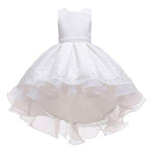Super Wert -Mädchen&Kinder-Kleider-Blume Kinder&Party&Hochzeit&Spitze,Farbe: Weiß,Größe:130