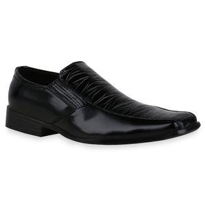 Mytrendshoe Herren Business Slippers Slip Ons Prints Elegante Schuhe 835033, Farbe: Schwarz, Größe: 42
