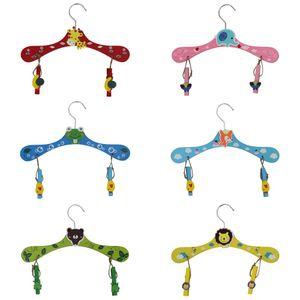 Kinder Kleiderbügel bunt mit Tiermotiven inkl. Holz-Wäscheklammern - 6er Set  rund, Tiere