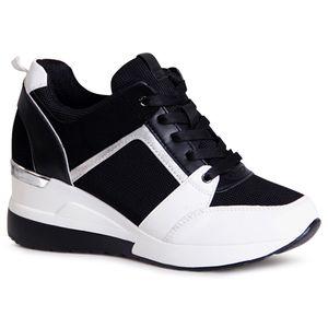 topschuhe24 1996 Damen Keilabsatz Sneaker Halbschuhe, Farbe:NY Schwarz, Größe:38 EU