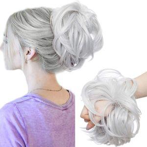 S-noilite Große Haarteil Haargummi Extensions Messy Bun Dutt Hochsteckfrisuren Voluminös Haarverlängerung mit Gummiband (80G) Silber-Grau