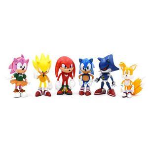 6Pcs Sonic Actionfigure the Hedgehog Kids Spielzeug Toy PVC Action Figure Set Game Figur Spielwaren Kuscheltiere Christmas Geschenke für Kinder