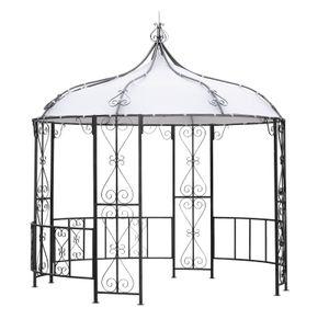 DEGAMO Pavillon Gartenpavillon Metalpavillon BURMA rund 300cm Durchmesser,  Gestell Stahl grau, Dachplane weiss wasserdicht beschichtet