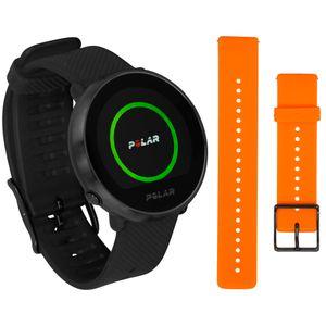 Polar IGNITE schwarz/schwarz M/L inkl. orangenem Armband