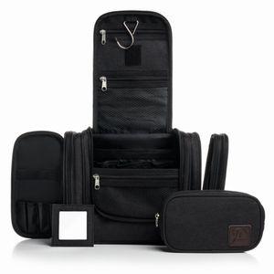 Kulturbeutel XXL schwarz mit Haken zum aufhängen und abnehmbaren Spiegel für Damen und Herren mit mobiler extra Tasche zum mitnehmen 10 Fächer