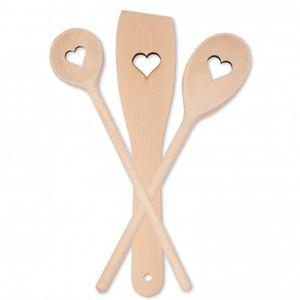 """Kochset """"Herz"""", 3-teilig, aus Holz 30 cm"""