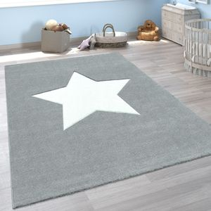 Kinder-Teppich, Spiel-Teppich Für Kinderzimmer, Mit Stern-Motiv In Grau, Grösse:120x170 cm