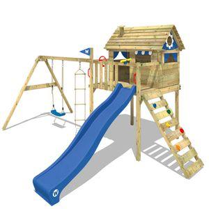 WICKEY Spielturm Klettergerüst Smart Plaza mit Schaukel & blauer Rutsche, Stelzenhaus mit Kletterleiter & Spiel-Zubehör
