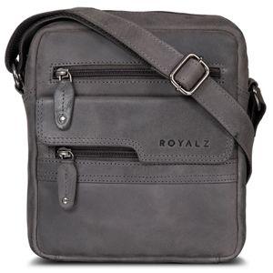 ROYALZ Leder Umhängetasche Herren Klein Männer Ledertasche Vintage Herrenhandtasche Moderne Schultertasche Messenger Bag, Farbe:Navy Grau