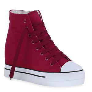 Mytrendshoe Damen Sneaker Keilabsatz Sportliche Schnürer Schuhe 835043, Farbe: Burgund, Größe: 39