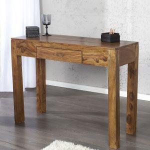 cagü: Exklusiver Design Schreibtisch [AGRA] Sheesham massiv Holz mit Schublade 100cm x 40cm