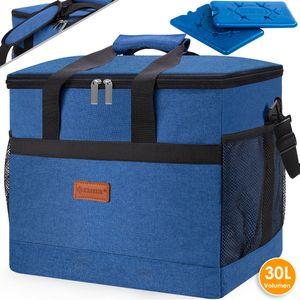 KESSER® Kühltasche faltbar Groß Schultergurt Kühlkorb Kühlbox Isoliertasche Thermotasche Picknicktasche für Lebensmitteltransport Lunchtasche Isoliert für Aufbewahrung von Wärme und Kälte , Farbe:Blau, Größe:30 Liter