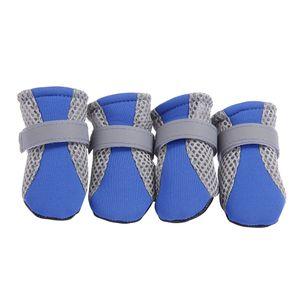 4pcs Hundeschuhe Pfotenschutz Hundestiefel Atmungsaktive Schuhe mit Rutschfester wie beschrieben Blau L