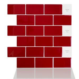 3D dreidimensionaler Fliesenaufkleber Selbstklebender wasserdichter Wandaufkleber,Farbe: rot,Größe:30.5x30.5cm