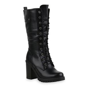 Mytrendshoe Damen Stiefel Schnürstiefel Blockabsatz Profil-Sohle Schuhe 835553, Farbe: Schwarz, Größe: 38