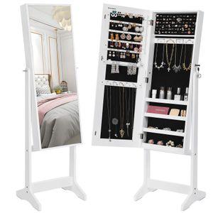 Schmuckschrank mit Spiegel weiß 151,5cm aus Holz Schmuckkasten Spiegelschrank Geschenk SONGMICS JJC69WT