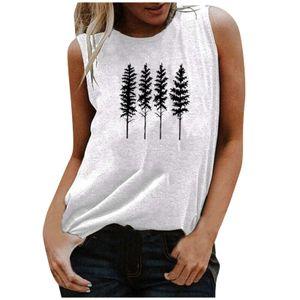 Mode Frauen lässig Forest River Print ärmellose O-Neck Tank Top Bluse Größe:L,Farbe:Weiß
